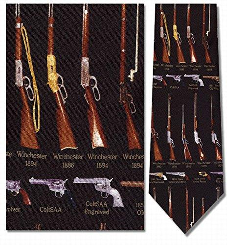 Museum Artifacts Krawatte aus Seide, mit Gewehre und Revolver, klassisch -