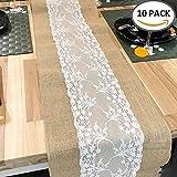 tropicalboy 10 Stück Jute Tischläufer mit Spitze Sackleinen Meterware 30 cm Breit Vintage Tischband für rustikale Hochzeit Fest Party Feier
