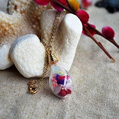 Multi Vraie Fleur Babysbreath Rose Ne M'oublie Pas Myosotis Verre Goutte d'eau Plaqué Or 18k Chaîne Colliers avec pendentifs