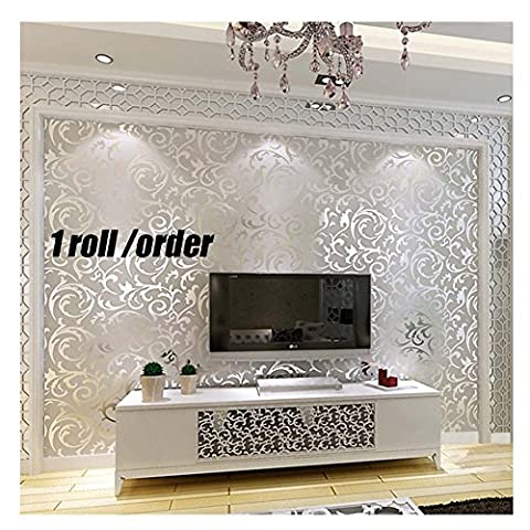 Modern European Style Acanthus Leaf Damask 3D Embossed Wallpaper - Glitter Silver, 33' (10m), Full Roll*1