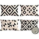 VIGVOG Outdoor Geometric Cushion Covers Showerproof, 30 x 50cm, Pack of 4, Water Resistant Scatter Garden Throw Pillow Case f