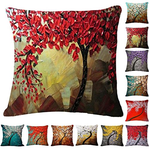 Janly   Fresh Style Watercolor Cushion Cover Geometric Tree Leaf Flowers Cushion Cover Decor Fairy Tale Sofa Throw Pillow Case  18 x18   A