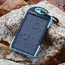 Cargador Solar Móvil 5000mAh,Levin Batería Externa Solar Impermeable Con Doble Puerto USB,Panel Solar PowerBank,Solar Charger Mobile Portátil Compatible con Smartphone (No Incluye Adaptador de Apple)(Azul)