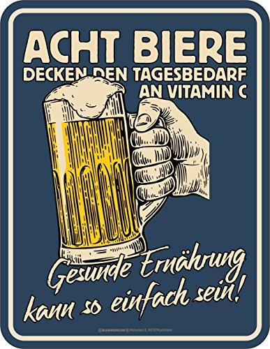 Blechschilder Bier (Original RAHMENLOS® Blechschild für den Bier-Trinker: Gesunde Ernährung kann so einfach sein…)