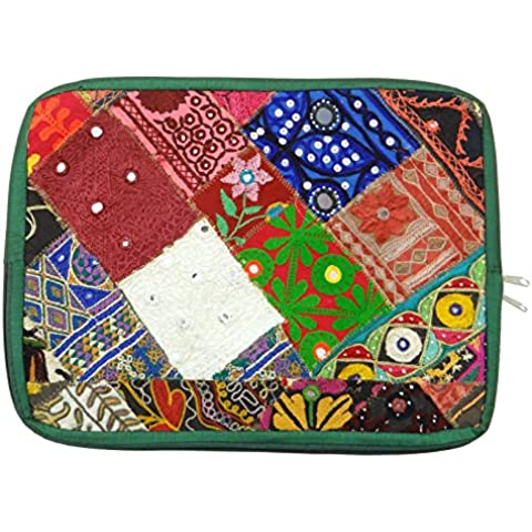 Indian Hippie elegante bolsa de ordenador portátil étnico embrague Banjara Patchwork Caso bohemio