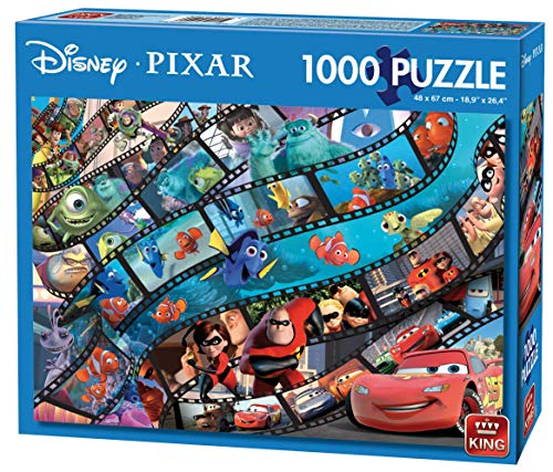 King Disney Pixar Movie Magic 1000 pcs Puzzle - Rompecabezas (Puzzle Rompecabezas, Dibujos, Adultos, Disney, Multiproperty, Cars, Monsters Inc, Toy Story, Incredibles, Finding Nemo, Hombre/Mujer)