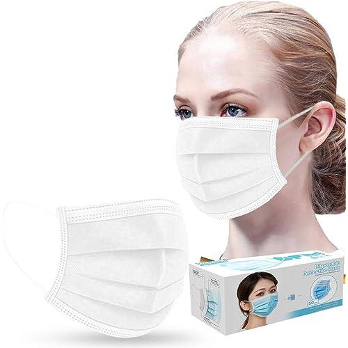 Face_Mask, 50/100Pezzi Adulta Face Cover Protettiva Monouso, 3 Strati, Antipolvere, USA e Getta per Adulto (50PCS, bianca)