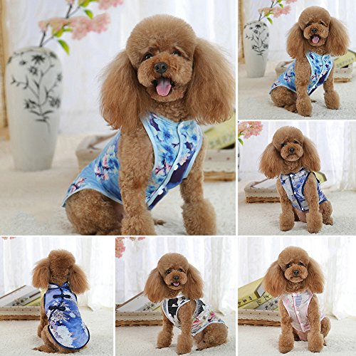 strimusimak Chinese Culture Cheongsam Style Clothes Floral Print Puppy Sleeveless Apparel-3# XL Floral Turtleneck