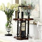 Céréales créatives en bois de fer en fer à bois Trolley Coussin 1 bouteille de vin et 4 gobelets Salle de séjour décoratif / Chambre / Hôtel / Restaurant 26 * 26 * 44CM...