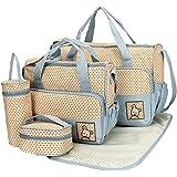 Baby Bucket 5pcs/set Baby Diaper Bag Nappy Mummy Bag Print Maternity Handbag Changing Baby Messenger Bag (Blue)