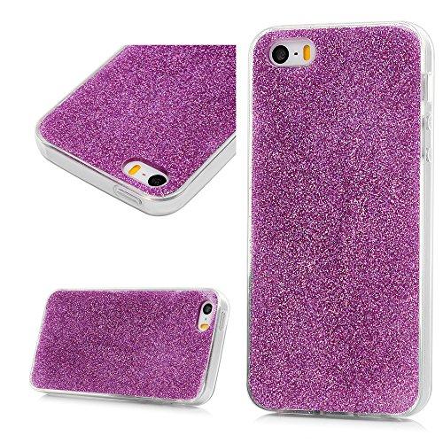 MAXFE.CO Schutzhülle Tasche Case für iPhone 5 SE TPU Silikon Cover Glitzern Muster Etui Protective Schale Bumper Rot Purple