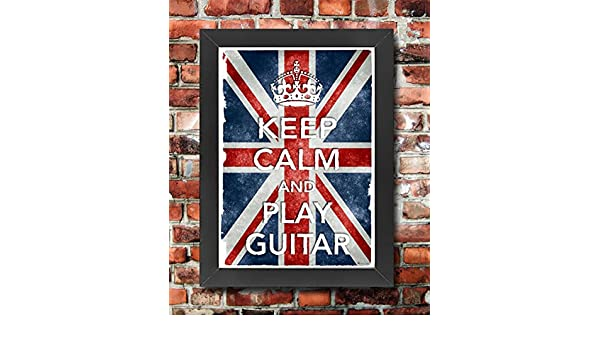 KC30 Framed Vintage Style Union Jack Keep Calm Play Guitar Funny Poster A3//A4