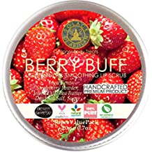 SolaceDeArtisan Berry Buff Lip Scrub Strawberry Powder & Jojoba Oil- Lightening & Smoothing - 20 Grams