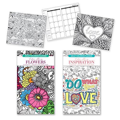 2Zählen 16Monate Färben Planer für Erwachsene beinhaltet Januar 2019-April 2020& 14verschiedenen Full spreizbar bis Color