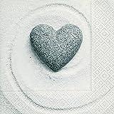 40Servilletas piedra corazón amor corazón forma natural 1/4, plegado, tamaño 3capas abierto: 33x 33