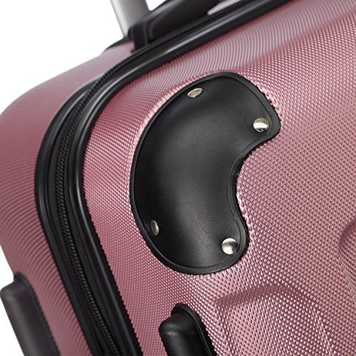 2045 Hartschale Koffer Trolley Reisekoffer einzelgröße XL-L-M in 10 Farben (M, Pink) - 4