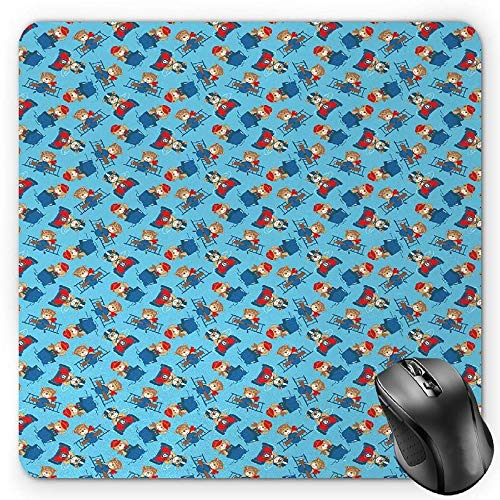 HYYCLS Vintage Flugzeug Maus Pad, Pilot Captain und Treiber Spielzeug Bär auf Race Auto Schlepper (Schiffstyp) und Propeller Flugzeug, Standard Größe Rechteck Rutschfeste Gummi Mauspad, Multicolor