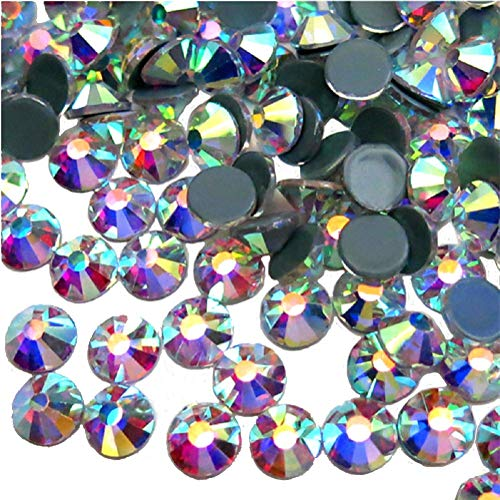 Jollin - strass da incollare con base piatta, in vetro con taglio a diamante, Hotfix Crystal AB, SS20 1440pcs