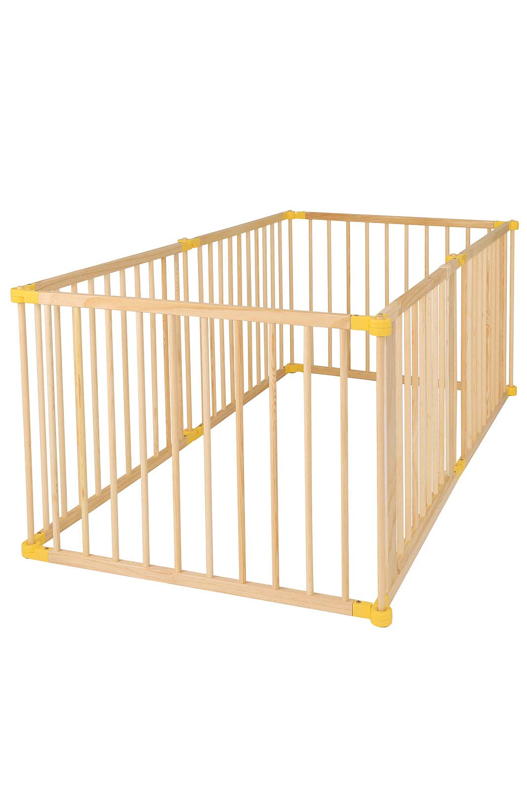 dibea DP00586 Baby Child Playpen, Wood, 270° Foldable incl. Door, 6 Panels Each 90x68cm dibea Wooden playpen with door, height 68 cm, 6 elements (including 1 door) each 90 x 68 cm (L, H). Distance between the single bars about 7, 5 cm 270 ° foldable, lockable form, flexibly usable as a playpen, protective grid, room divider or stair guard Rubber coating under the feet, so that the grid can not be moved by the baby 1