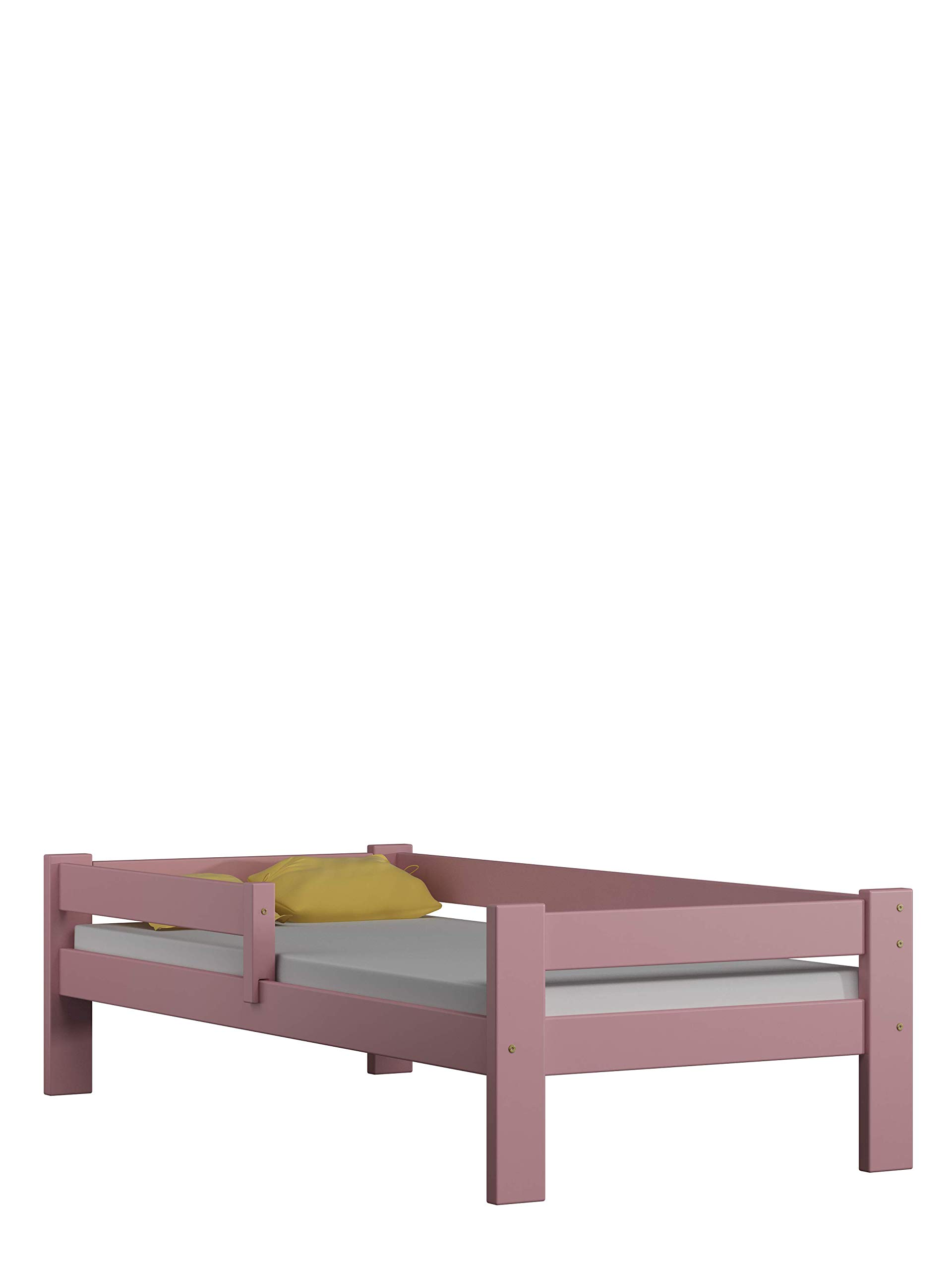 Children's Beds Home Solid Pine Wood Single Bed - Willow no Drawers no Mattress Included (160x80, Pink) Children's Beds Home Internal Dimensions in cm's are 140x70, 160x80, 180x80, 180x90, 190x90, 200x90 (External: 147x78, 167x88, 187x88, 187x98, 197x98, 207x98) Total height up to the top of the safety barrier is 51cm Universal bed entrance - left or right side. Front barrier can also be removed at a later stage. Bed Frame has load capacity of up to 190kg 1