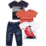 Conjunto Ropa Verano de Niño 3/4 Piezas Camisetas Mangas Cortas + Pantalones Cortos Denim Estampado Coche/Barco para Playa Va