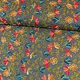 Jeansstoff Stickerei kleine Blumen Modestoffe - Preis gilt