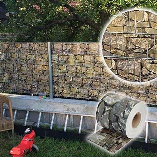 Letech Sichtschutzfolie Sichtschutzstreifen 70m PVC Zaunfolie inkl. 30 Befestigungsclips (Stein-Optik)
