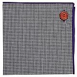 Puentes Denver Violett Einstecktuch Einstecktücher 100% Baumwolle, Schwartz - Weiß Gingham-Plaid mit Violett Naht, Knopf Kollektion