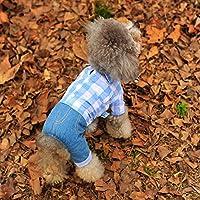 YU-K Cani abbigliamento abbigliamento piccolo cane mezzo abbigliamento abbigliamento cane cane grande vestiti tralicciati cowboy , polvere bianco a scacchi in serie L (lunghezza34cmchest46cm)