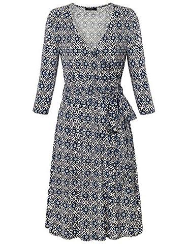 Damen Midi-Kleid-Kleider,Lotusmile Frauen Vintage Druck Kleid V-Ausschnitt 3/4 Ärmellänge A-Form Gürtel zum Knoten Elegant Freizeit Kleid Blau,Größe XXL