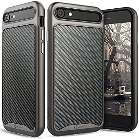 iPhone 7 Funda, Vena [vLuxe][Fibra de carbón Espalda | Metal Botón] Protector Slim Fit Armadura Case Cover para Apple iPhone 7 (4.7