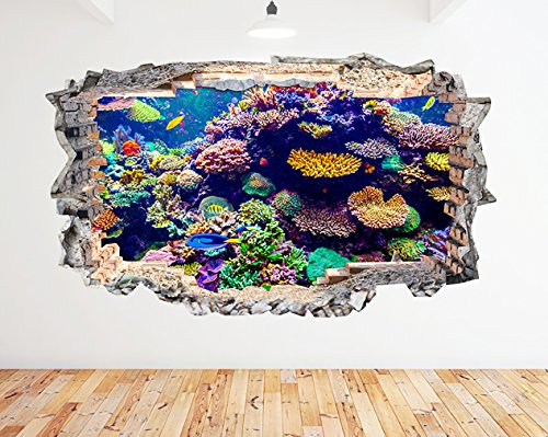 K163Aquarium Fish Ocean Sea Coral Wand Aufkleber 3D Poster Art Aufkleber Vinyl Zimmer (Riesige (100x - Tank Fish Ocean