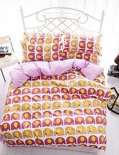 LIANGTT Ropa de cama, de dibujos animados bebé elefante reina amarillo y rosa y ropa de cama de tamaño doble lijado sistemas 4pcs para niños y niñas de, twin