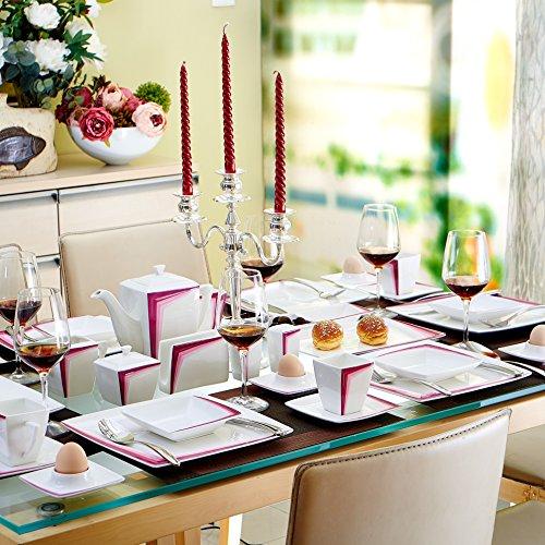 Malacasa, Serie Rebeca 40P, Set 40 tlg. Porzellan Kaffeeservice Frühstück Geschirrset Eckig Teeset für 6 Personen, OHNE KUCHENTELLER ODER SUPPENTELLER - 3