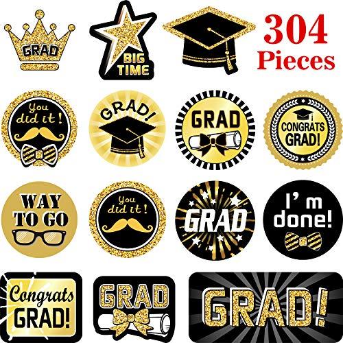 Blulu 304 Stücke Graduation Aufkleber 32 Muster - 2019 Graduation Party Lieferungen Graduation Printed Design Aufkleber Selbstklebend mit Abschluss Caps und Diplome