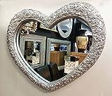 PremierInteriors Herz Spiegel mit Ornamenten Wand Silber Farbe Rahmen French Gravur Roses 75x 63cm