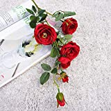 YCJCG Künstliche romantische glückliche Teerose Seidenblume Zweig Schlafzimmer Nachttisch Dekor...