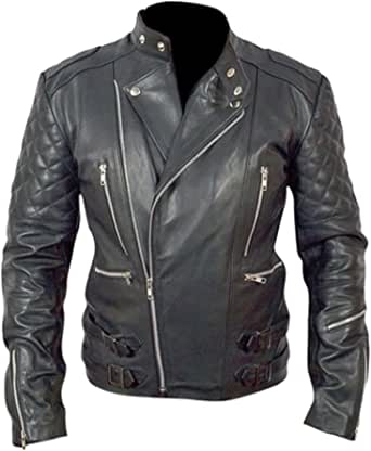 Classyak Men's Motocycle Leather Jacket with Armor Protection