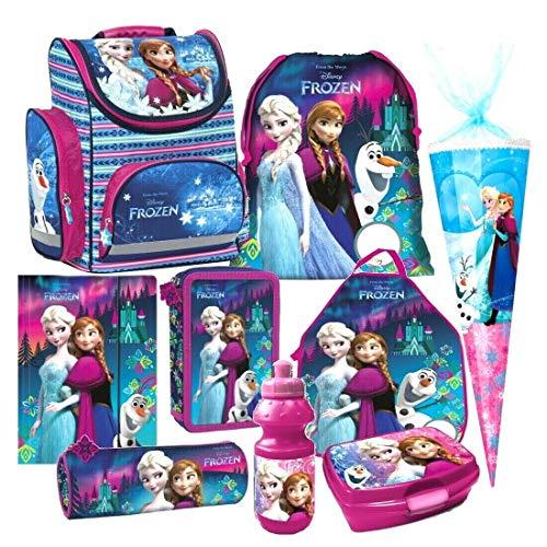 Disney Frozen EISKÖNIGIN Anna ELSA 9 Teile lila Set Schulranzen RANZEN Prinzessin Schultüte 85 cm Tornister Federmappe mit Sticker von kids4shop