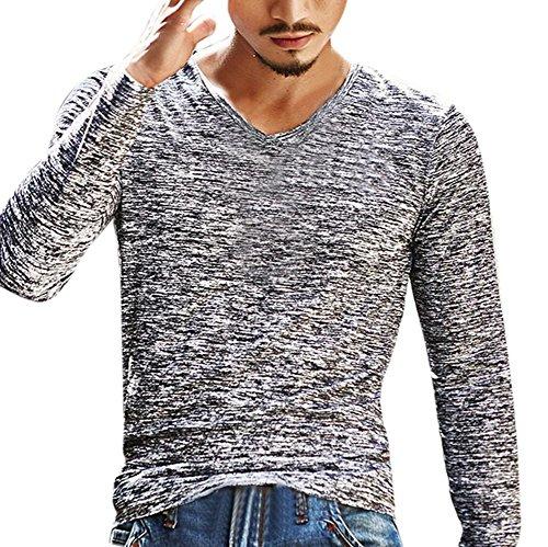 Preisvergleich Produktbild Sweatshirt Herren Longra Herren Solid V Neck Langarm T-Shirt Top Slim Bluse Langarmshirt Rundhals Classics Herren T-Shirt (3XL, Gray)