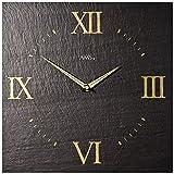 Quartz Wanduhr AMS 9517 in Naturschiefer Look Optik Schieferuhr, Unikat Designer-Uhr für die Wand mit römischen Ziffern - Druck goldfarben