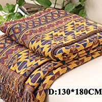 Manta Bulary de estilo bohemio, algodón puro trenzado, boho, para sofá, cama, colcha de patchwork, 90 x 90 cm, algodón, D:130*180CM/51.18*70.87in