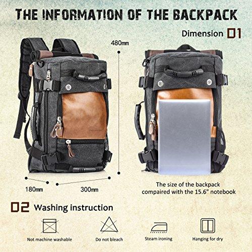 Imagen de overmont 35l multifuncional portátil vintage  bolsa macuto de lona cuero para excursión camping senderismo acampada viaje activiadad al aire libre caqui/negro alternativa