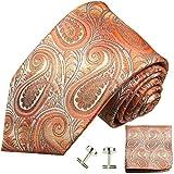 Paul Malone Krawatten Set 3tlg 100% Seide orange paisley (Überlange 165cm)