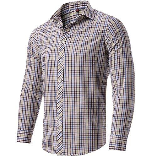 INFLATION Herren Hemd Karo Hemd Freizeithemd Kariert Hemd aus 100% Baumwolle Langarm, Gelb mix Braun, DE M (Große Karo-stoff)