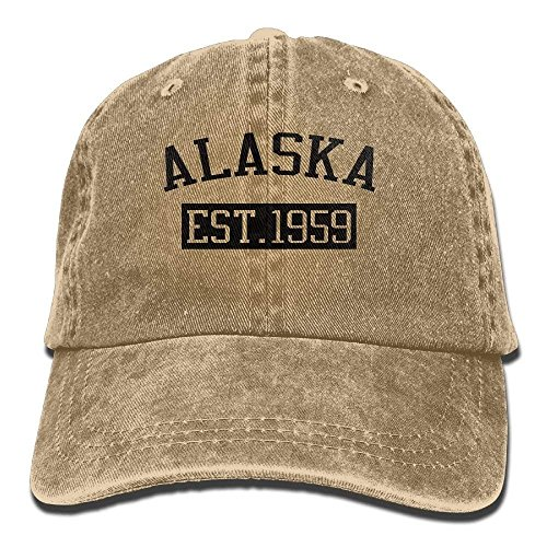 Alaska EST 1959 Trend Printing Cowboy Hat Fashion Baseball Cap for Men and Women Black