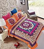 Bohemian Moroccan Duvet Cover Set Elegant Antique Design T300 Poly Cotton Feather Feeling Boho Duvet Cover Set Bedroom & Living Room + 2 Panel Print Pillow cases (Double (200 x 200 cm), Autumn)