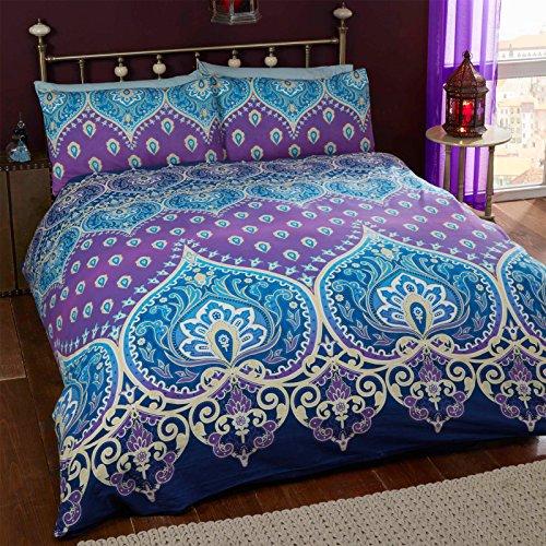 Just Contempo-Set copripiumino in stile marocchino, colore: viola/blu, Doppio