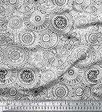 Soimoi Weiß Baumwoll-Popeline Stoff schwarz Skizze Mandala
