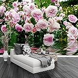 Wallpaper Experten Custom 3D Sfondo Murale Stile Pastorale Di Fiori Rosa Foto Affresco Soggiorno Camera Da Letto Arredamento Romantico Papel De Parede Floral 3 D 250cmX175cm(98.4 by 68.9 in )